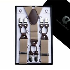 Beige with Leather Attachment Y3.5cm Extra Large Braces  Mens Suspenders