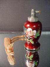 """Scarce Japanese Cloisonne 4""""Ht Oxblood Ginbari Pink Rose Atomizer Perfume Japan"""