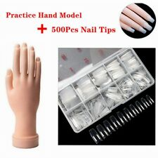Nail Art Training Hand Flexible Movable Fake Hand Practice +500 French Gel Tips