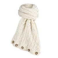 Aran Woollen Mills Women's Irish Wool Scarf - Merino Wrap with Wood Buttons