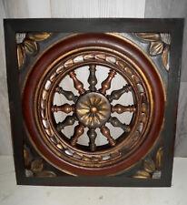 panneaux bois sculpte  breton roue et rosace 37/38 cm patiné a la cire (5373)