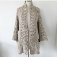 Zara Knit Open Front Cardigan Chunky Sweater Women Size Medium Beige Alpaca Wool