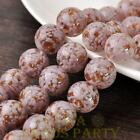 New 5pcs 14mm Lampwork Glass Dots Loose Spacer Round Beads Charms Purple