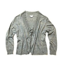 DRIES VAN NOTEN!!! Blue/grey linen knit cardigan with drawcord neck