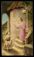 CHILD JESUS, ST JOHN THE BAPTIST CHILD w/ LAMB Vtg 1950s HOLY CARD