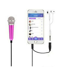 3.5mm Wired Mini Cell Phone Microphone Stereo Mic for Chatting Singing SEAU