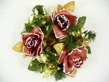 Artificial Flowers Rose Astilbe Pine Cone Wreath Candle Ring Christmas Wedding