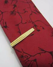 Vintage Die Cut Mens Tie Clip Bar Curved Edge Design Gold Tone Metal 1970s