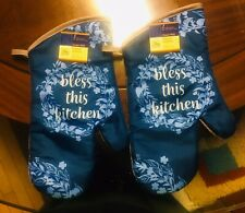 Home Collection Kitchen Oven Mitts Mittens Bless This Kitchen. Lot of 2 A+Seller