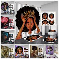 4pcs Afro Women Shower Curtain Set with Non-Slip Rug, Toilet Lid Cover Bath Mat