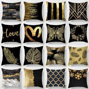 "18"" Luxury Black Golden Cushion Cover Geometry Throw Pillowcase Home Sofa Decors"