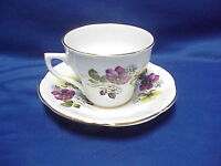 Rosina Tea Cup And Saucer Set Poppy Flowers w Gold Trim Vintage Design England