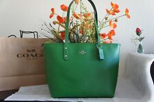 NWT Coach F58846 City Zip Tote In Crossgrain Leather Handbag Kelly Green $295