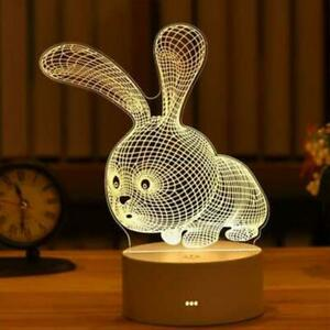 3D USB Acrylic Night Light LED Table Desk Bedroom Decor Gift Warm White Lamp