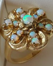 SALE!!  ESTATE FIRE OPAL CLUSTER RING IN 14K GOLD - HEAVY 11.26G--SAVE $200!!!!