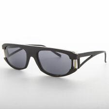 Vintage Sunglass Matte Black Flat Top Low Rider Hip Hop Frame Gray Lens -Cruiser
