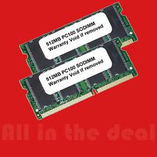 SODIMM 1GB 2X 512MB PC100 SDRAM PC 100 LAPTOP MEMORY