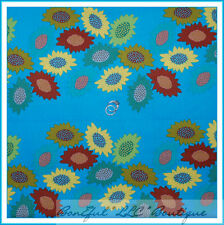 BonEful Fabric Cotton Quilt Blue Yellow Sun*flower Dot Stripe Retro Hippie SCRAP