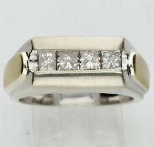 Mens diamond ring 14K 2 tone gold 4 champagne princess brilliant .80CT 14.5 GM