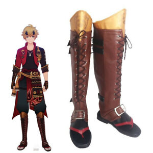 Game Genshin Impact Tohma Cosplay Shoes Thoma Brown High Boots Halloween Shoe