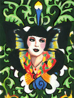 original aceo art painting butterfly fairy 1920s flapper girl flowers miniature