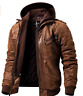 Herren Motorradjacke EchtLeder mit Kapuze braun Brown leather jacket with hoodi