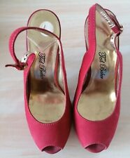 Ted Baker ladies peep toe high heel red shoes size 5