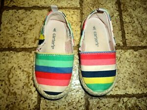 Carter's Striped Canvas Shoes. Sz. Girl's 6. Adorable!