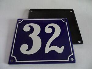 Old French Blue Enamel Porcelain Metal House Door Number Street Sign / Plate 32