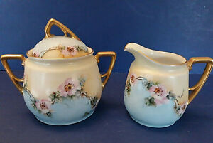 Antique KPM German Porcelain Creamer Sugar Bowl Lid Pink Blue Floral Gilded EUC