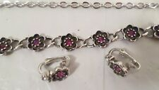 Vtg Avon Convertible Necklace / Bracelet & Clip on Floral Earring Set Red Stone