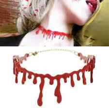 Halloween Party Dress Ball Punk Rock Deathrock Blood Red Stitch Choker Necklace