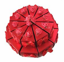 20pc Red Paper Wedding/Party Gift Favor Candy Box Set With Silk Bows & Roes