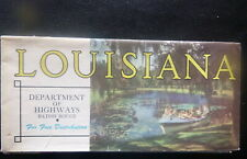 1950's Louisiana  official highway road  map  oil  gas