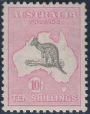 Kangaroo stamp Australia 10/- grey/pink small multiple watermark MUH, small mark