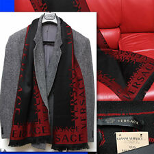 $420 GIANNI VERSACE Men's LOGO WOOL SCARF