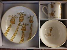 SIA Kids Frühstücksset Porzellan Giraffe mit Geschenkkarton NEU