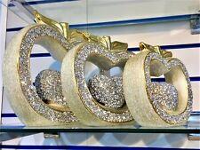 SET OF 3 GOLDEN APPLE SET SPARKLE BLING ORNAMENT CRUSHED DIAMOND, HOME DECOR