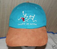 Jockey or Nothing Baseball Hat Cap Cotton Teal w/ Suede Bill Brim Adjust leather