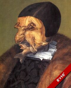WEIRD MEAT CHICKEN FISH FACE PORTRAIT 1500'S ERA PAINTING ART REAL CANVAS PRINT