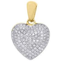 10K Yellow Gold Ladies Round Diamond Heart Pendant Puffed Pave Charm 0.29 CT.