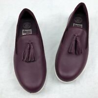 Fitflop Women's Size 7 Tassel Superskate Leather Loafers Wedge Shoes Deep Plum