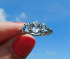 Sky Blue Topaz RING Openwork Trilogy  Platinum/Silver (Size 8) TGW 1.15 cts.