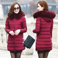 Womens Down Long Jacket Warm Parka Cotton Slim Winter Coat Fur Hooded Slim Quilt