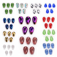 10PCS 18x12mm Charms Faceted Glass Crystal Teardrop Spacer Loose Beads DIY Gifts