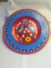 """Wood Hand Made Painted Plate Red Blue Birds Floral Home Decor Poland 11.5"""""""