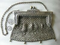 Antique German Silver Fancy Floral Frame 4 Ball Tassel Chain Mail Purse #14