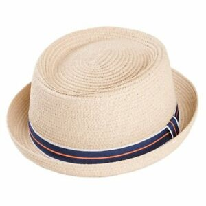Crushable Straw Summer Pork Pie Trilby Hat With Stripey Band