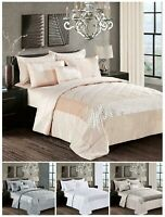 Luxury Quilted 3PC Bedspread Bed Throw Comforter Bedding Set With Pillow Shams