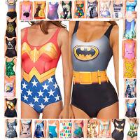 Womens Sexy Swimwear Print One-Piece Monokini Bikini Swimsuit Backless Beachwear